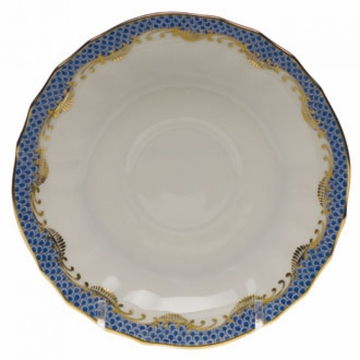 Herend White With Blue Border Canton Saucer 5.5''D