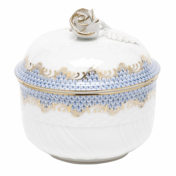 Herend White With Blue Border Covered Sugar With Rose (6 Oz) 4''H
