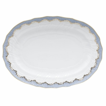Herend White With Blue Border Platter 15''L X 11.5''W