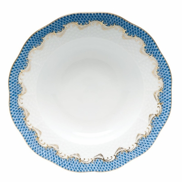 Herend White With Blue Border Rim Soup Plate 8''D