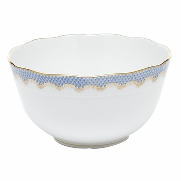 Herend White With Blue Border Round Bowl (3.5 Pt) 7.5''D