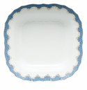 "Herend White With Blue Border Square Fruit Dish 11""Sq"