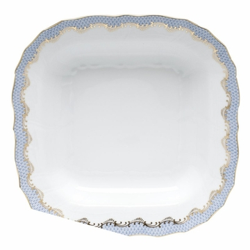 Herend White With Blue Border Square Fruit Dish 11''Sq