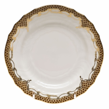 Herend White With Brown Border Bread & Butter Plate 6''D
