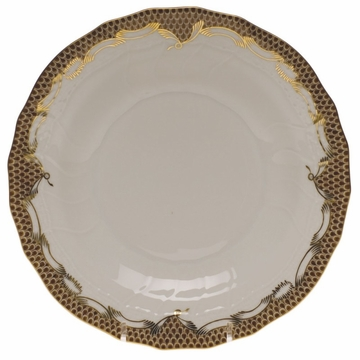 Herend White With Brown Border Dessert Plate 8.25''D