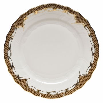 Herend White With Brown Border Dinner Plate 10.5''D