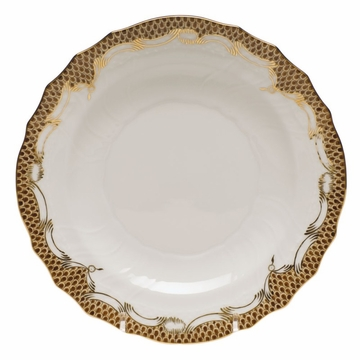 Herend White With Brown Border Salad Plate 7.5''D