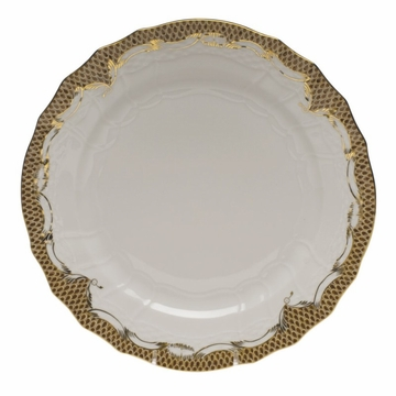 Herend White With Brown Border Service Plate 11''D