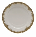"Herend White With Brown Border Service Plate 11""D"