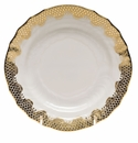 "Herend White With Gold Border Bread & Butter Plate 6""D"