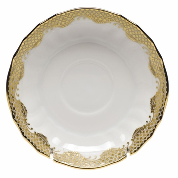 Herend White With Gold Border Canton Saucer 5.5''D