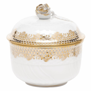 Herend White With Gold Border Covered Sugar With Rose (6 Oz) 4''H