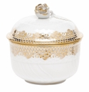 "Herend White With Gold Border Covered Sugar With Rose (6 Oz) 4""H"