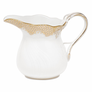 Herend White With Gold Border Creamer (6 Oz) 3.5''H