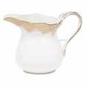 "Herend White With Gold Border Creamer (6 Oz) 3.5""H"
