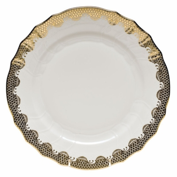 Herend White With Gold Border Dinner Plate 10.5''D