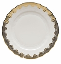 "Herend White With Gold Border Dinner Plate 10.5""D"