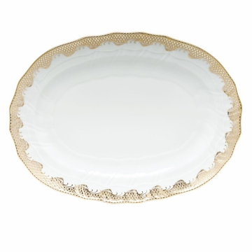 Herend White With Gold Border Platter 15''L X 11.5''W
