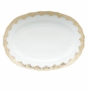 "Herend White With Gold Border Platter 15""L X 11.5""W"