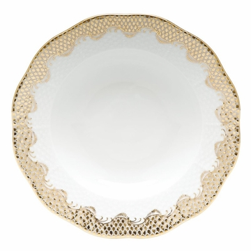 Herend White With Gold Border Rim Soup Plate 8''D