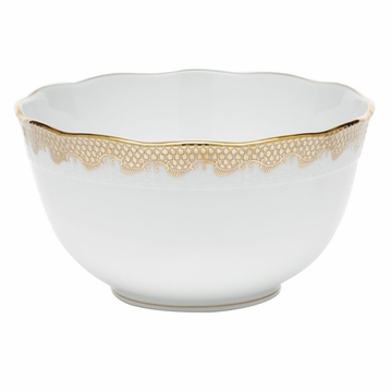 Herend White With Gold Border Round Bowl (3.5Pt) 7.5''D