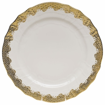 Herend White With Gold Border Service Plate 11''D