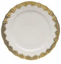 "Herend White With Gold Border Service Plate 11""D"