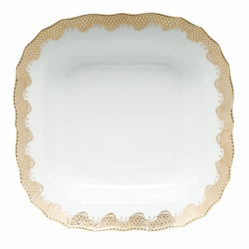 Herend White With Gold Border Square Fruit Dish 11''Sq