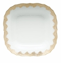 "Herend White With Gold Border Square Fruit Dish 11""Sq"