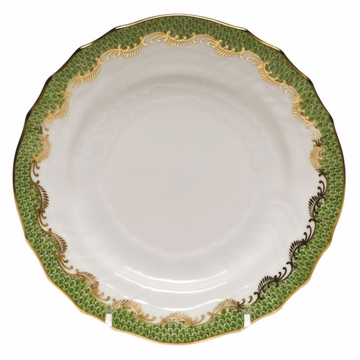 Herend White With Green Border Bread & Butter Plate 6''D - Evergreen