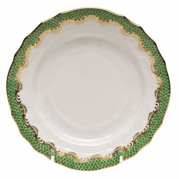 Herend White With Green Border Bread & Butter Plate 6''D - Jade