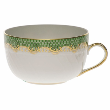 Herend White With Green Border Canton Cup (6 Oz) - Jade