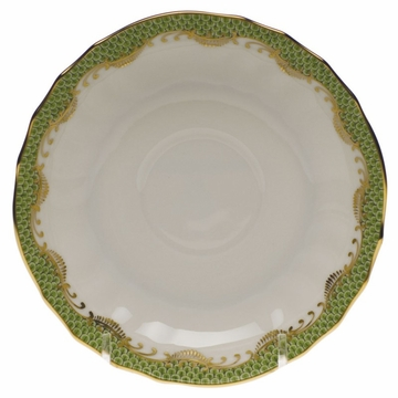Herend White With Green Border Canton Saucer 5.5''D - Evergreen