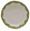 "Herend White With Green Border Canton Saucer 5.5""D - Evergreen"