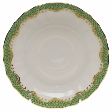 Herend White With Green Border Canton Saucer 5.5''D - Jade