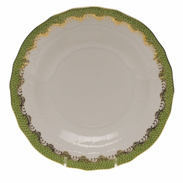 Herend White With Green Border Dessert Plate 8.25''D - Evergreen