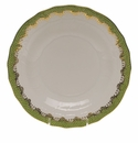 "Herend White With Green Border Dessert Plate 8.25""D - Evergreen"