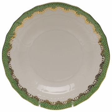 Herend White With Green Border Dessert Plate 8.25''D - Jade