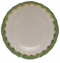 "Herend White With Green Border Dessert Plate 8.25""D - Jade"