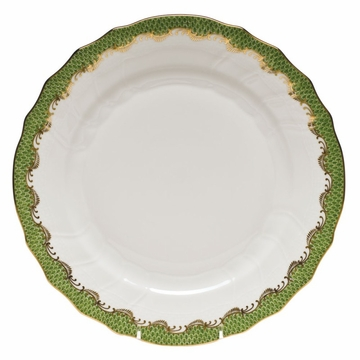 Herend White With Green Border Dinner Plate 10.5''D - Evergreen