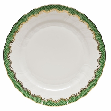 Herend White With Green Border Dinner Plate 10.5''D - Jade