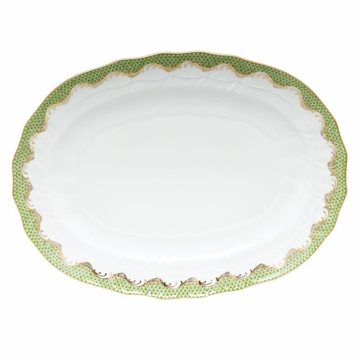 Herend White With Green Border Platter 15''L X 11.5''W Evergreen