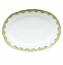 "Herend White With Green Border Platter 15""L X 11.5""W Evergreen"