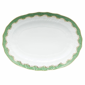 Herend White With Green Border Platter 15''L X 11.5''W Jade