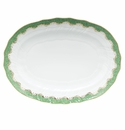 "Herend White With Green Border Platter 15""L X 11.5""W Jade"