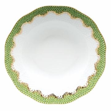 Herend White With Green Border Rim Soup Plate 8''D - Evergreen