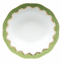 "Herend White With Green Border Rim Soup Plate 8""D - Evergreen"