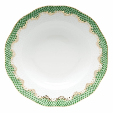 Herend White With Green Border Rim Soup Plate 8''D - Jade