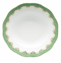 "Herend White With Green Border Rim Soup Plate 8""D - Jade"