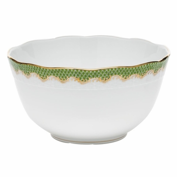 Herend White With Green Border Round Bowl (3.5Pt) 7.5''D - Evergreen